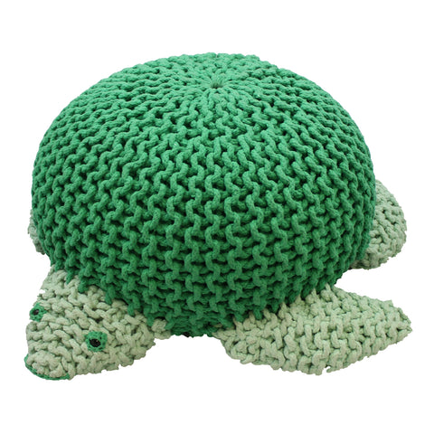 Oversized Knitted Sea Turtle Pouf Stool Seat Playroom Furniture Children Kids Ocean Theme Room