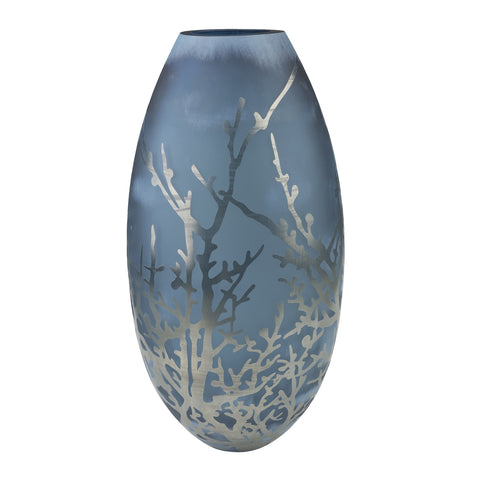 Blue Glass Vase with Silver Coral