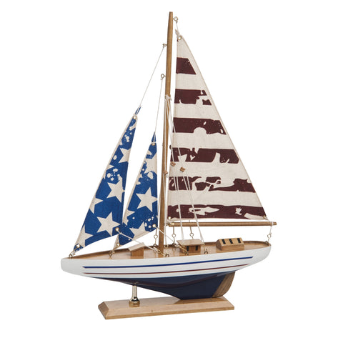 American Flag Sailboat Mantle Piece Home Decor Wooden Boat Patriotic Design Red White Blue Independence Day