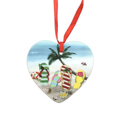 Ceramic Flip Flop Heart Ornament
