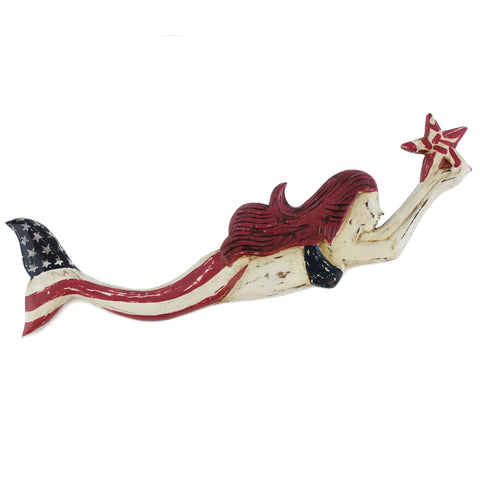 Patriotic Mermaid Wall Plaque