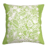 Green Navy or Coral Shell Embroidery Pillow