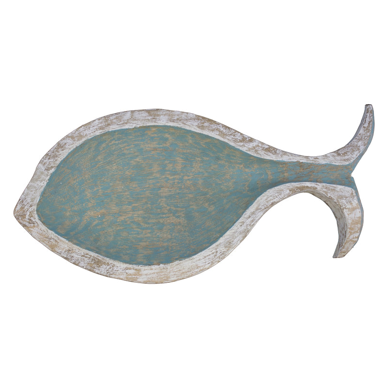 Teal Mango Wood Fish Bowl