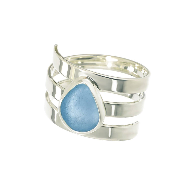 Sea Glass Ring Triple Band, Blue