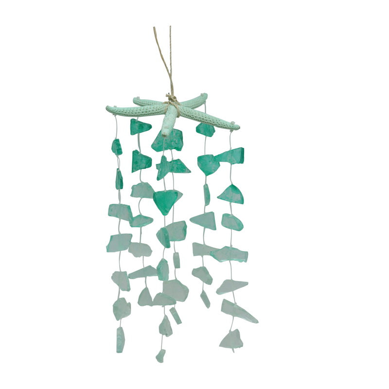 Green Starfish and Sea Glass Hanging Decor