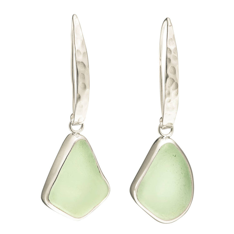 Sea Glass Slender Curve Hook Earrings