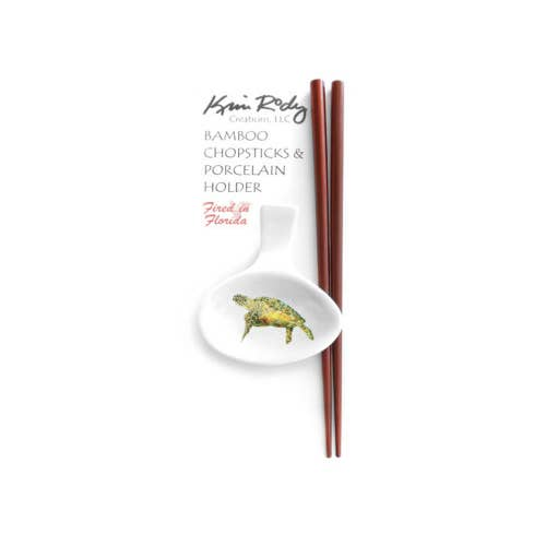 Bamboo Chopstick Set with Porcelain Holder - Turtle Designs