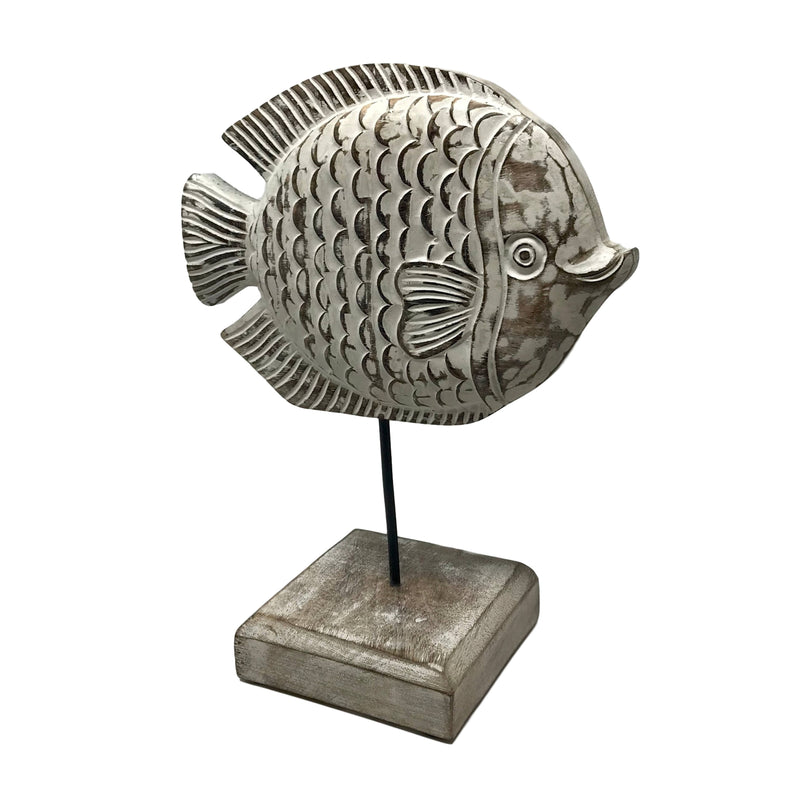 """Fish Tales"" Angela Angelfish Hand-Carved Wood Figure w/Base"