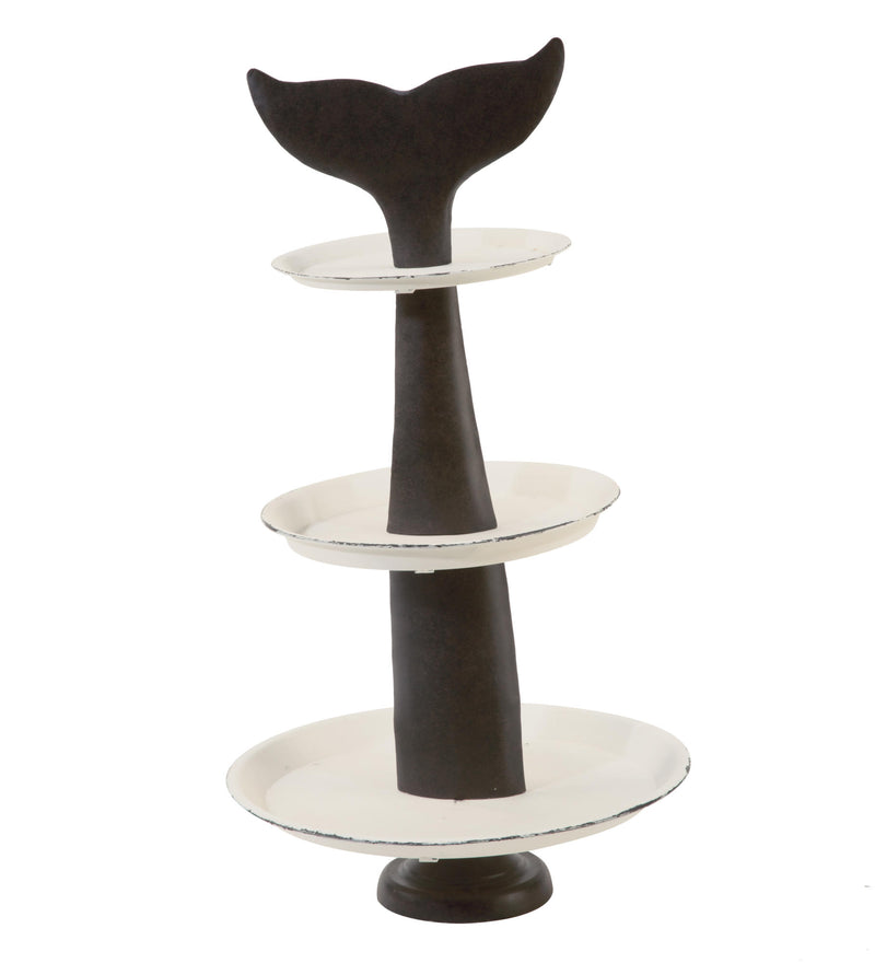 Coastal Whale Tail Display 3 Tier Tray