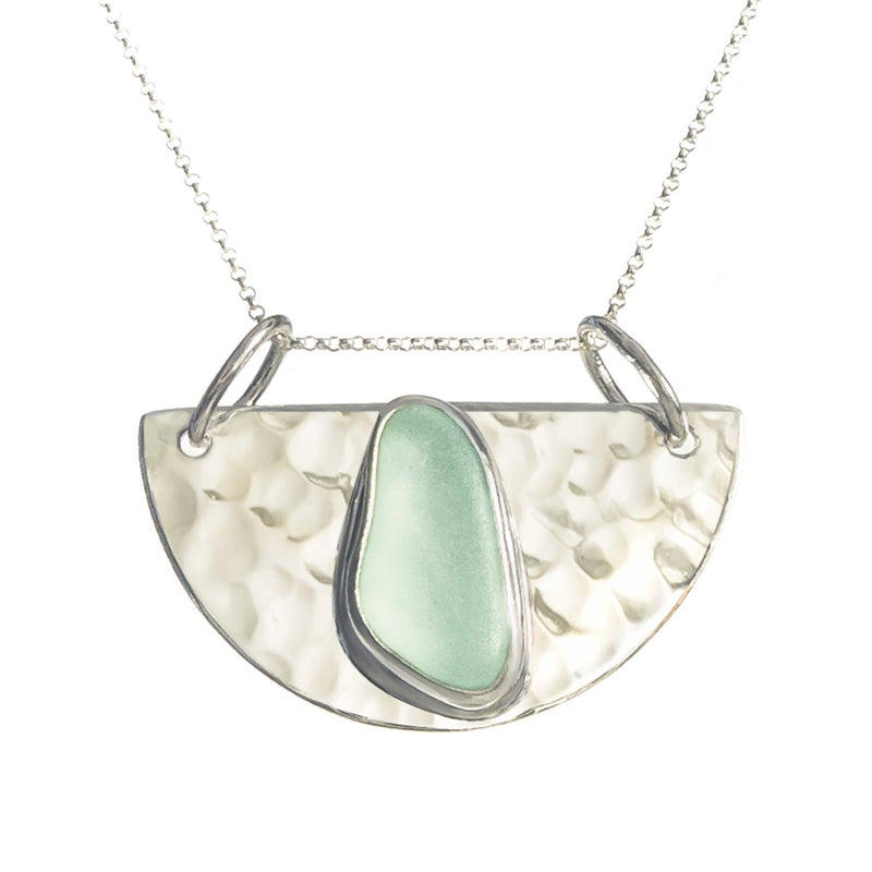 Sea Glass Half Moon Pendant