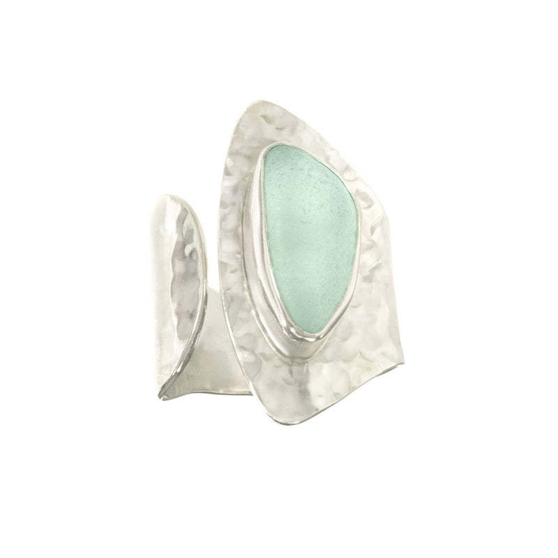 Sea Glass Half Moon Ring