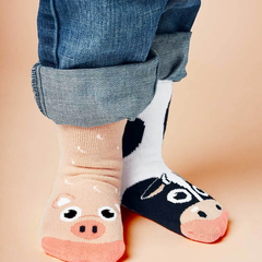 Cow & Pig | Kids & Adult Socks | Mismatched Crazy Fun Socks