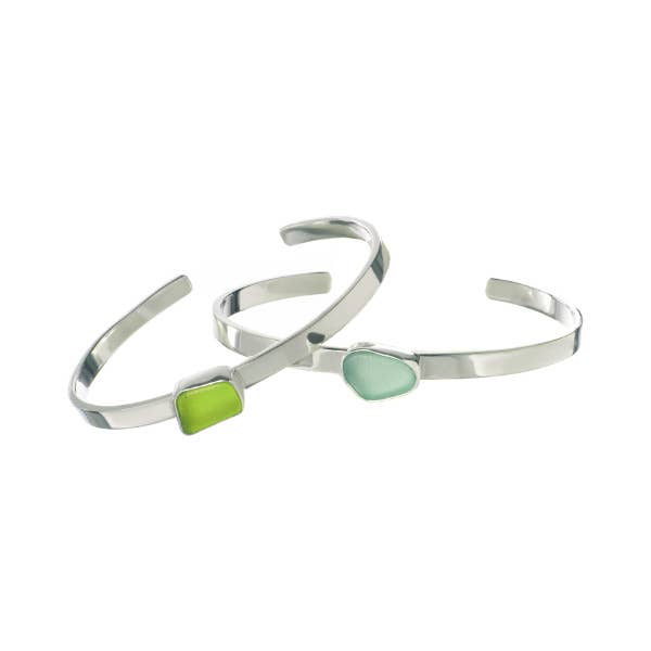 Sea Glass Skinny Cuff Bracelet