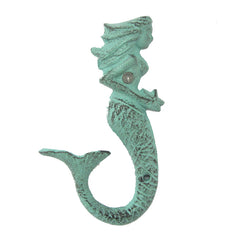 Green Cast Iron Mermaid Wall Hook