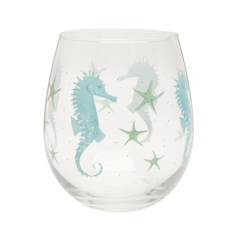 Seahorse Stemless Wine Glass