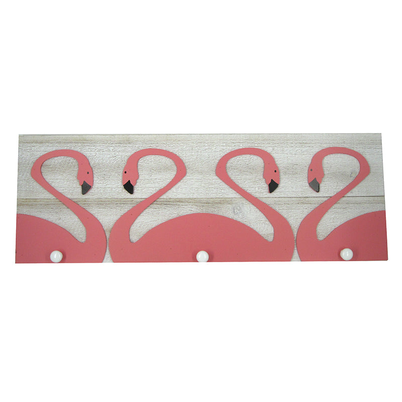 Flamingo Wall Plaque with Hooks- 25.5""