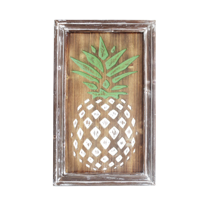Carved Pineapple Wall Plaque - 24""