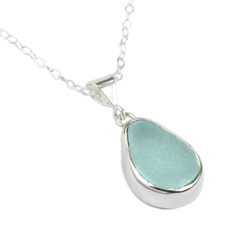 Sea Glass Pendant Baby Splash, Soft Aqua