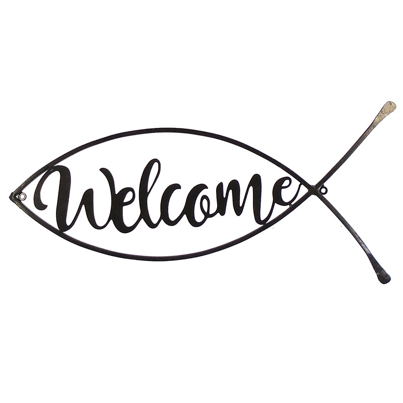 Metal Welcome Fish Plaque - 22.75""
