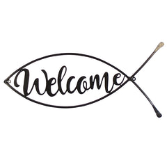 Metal Welcome Fish Plaque - 22.75