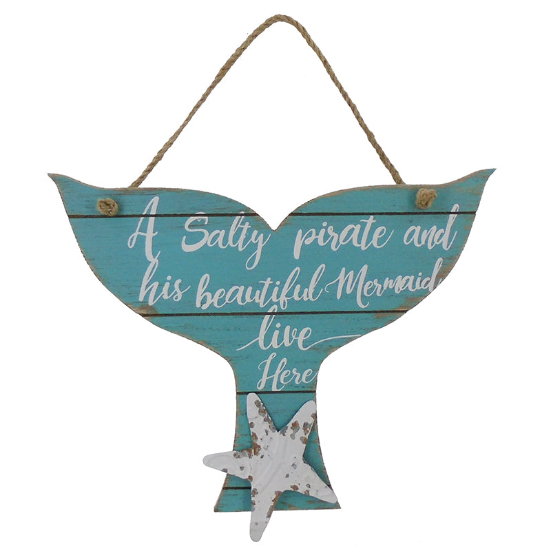 Salty Pirate/Mermaid Wall Plaque - 12""