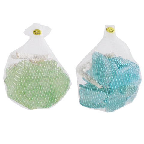 Bag of Glass Stones with Starfish - Blue & Green