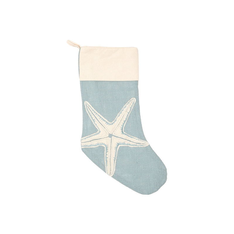 Light Blue Burlap Stockings
