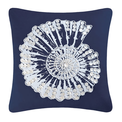 Navy Nautilus Shell Pillow