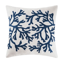Navy Blue Coral Pillow