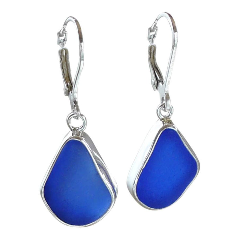 Sea Glass Drop Earrings, Blue