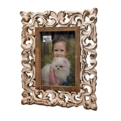 Barcelona Hand-Carved Wood Photo Frame with Fold Out Stand