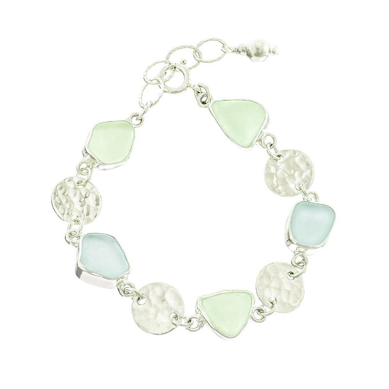 Sea Glass Link Bracelet Full Moon, Soft Green-Blue