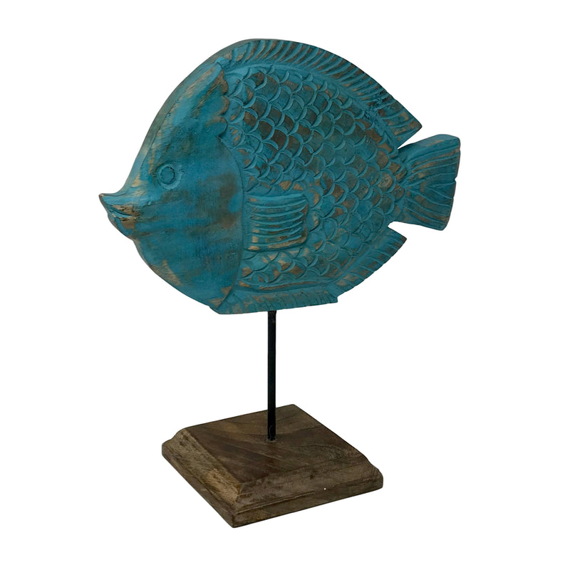 """Fish Tales"" Polly Puffer Fish Hand-Carved Wood Figure"