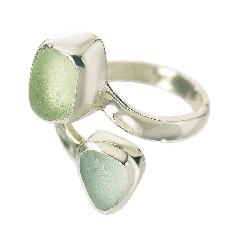 Sea Glass Double Ring Slender Curve