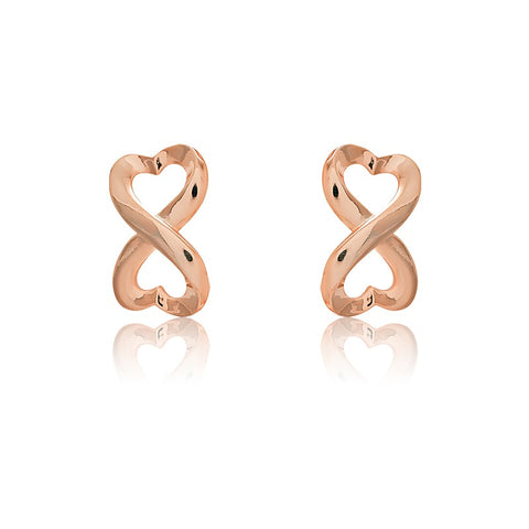 Rose Gold Plated Sterling Silver Heart Infinity Earrings