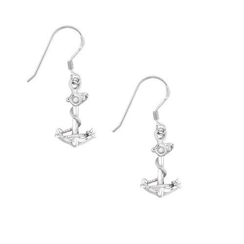 Sterling Silver Anchor with Twisted Rope Earrings