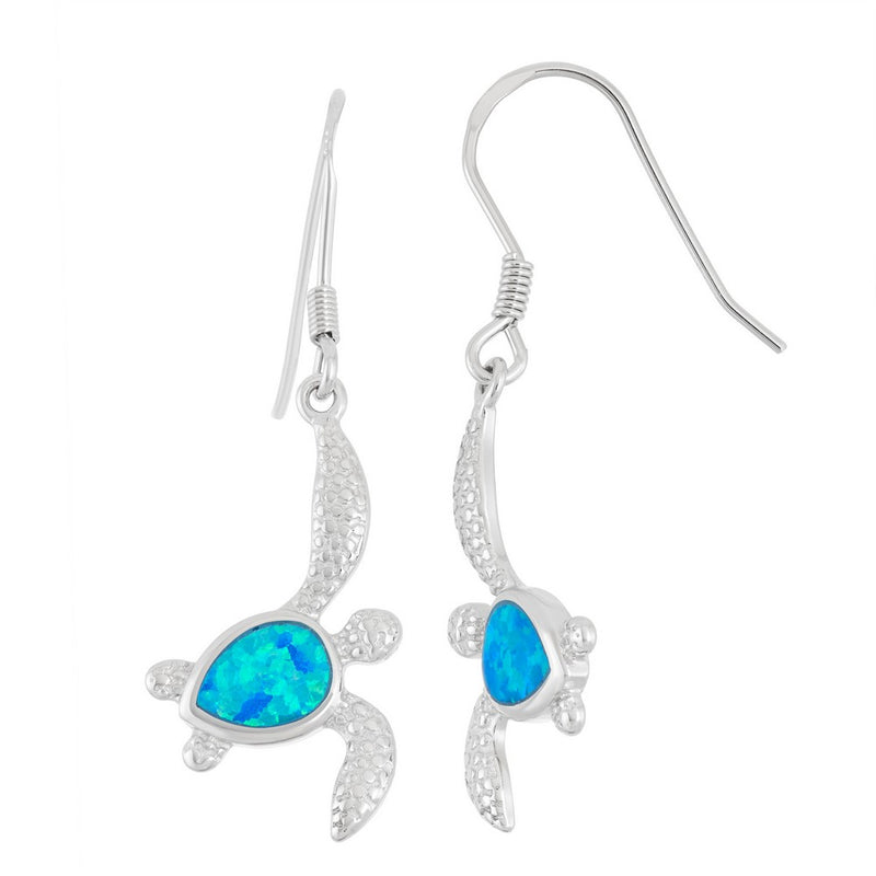 Sterling Silver Blue Opal Inlay Drop-Style Turtle Earrings