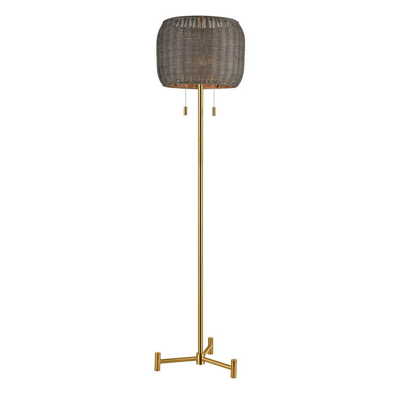 Aged Brass FLOOR LAMP with Rattan Shade