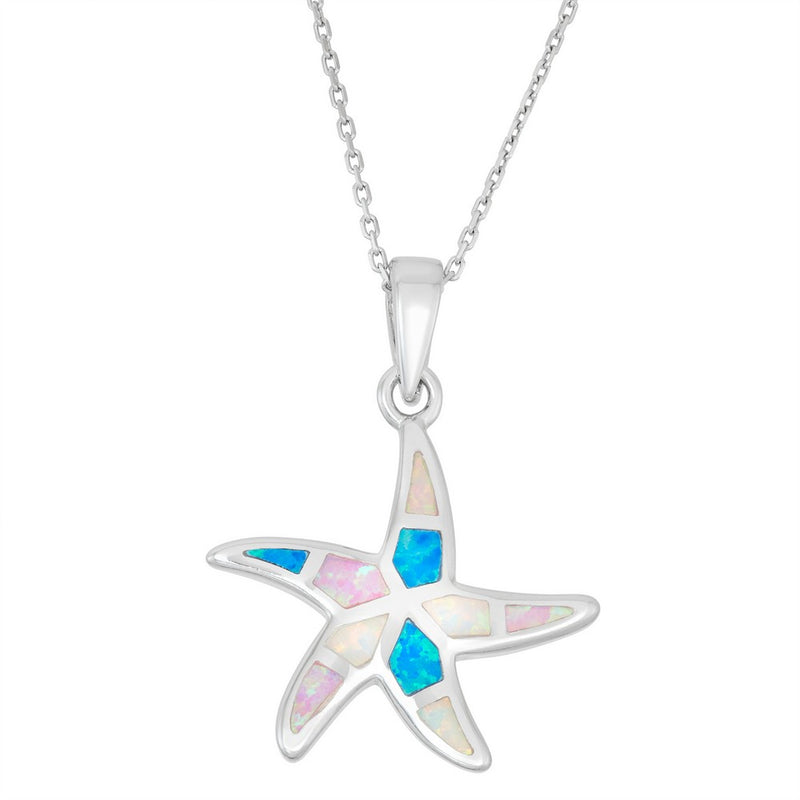 Sterling Silver White, Pink, and Blue Inlay Opal Starfish Pendant