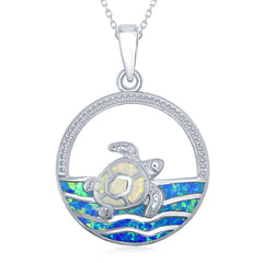 Sterling Silver White Opal Turtle on the Water Pendant Necklace
