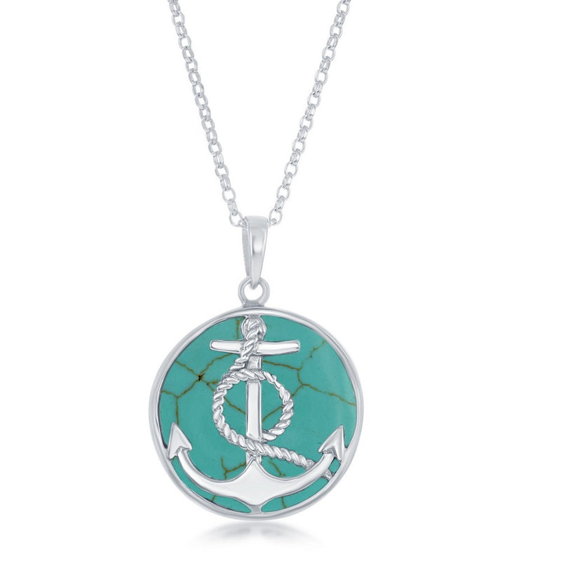 Sterling Silver Anchor with Twisted Rope Round Turquoise Pendant W/Chain