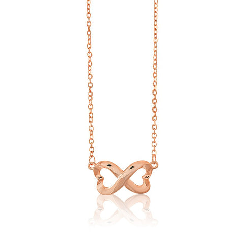 Rose Gold Plated Sterling Silver Heart Infinity Pendant Necklace