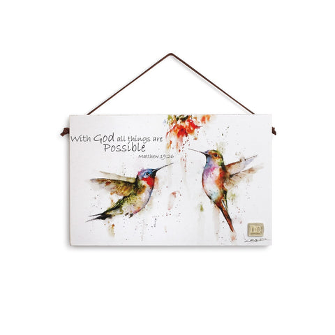 Matthew 19:26 Hummingbird Plaque