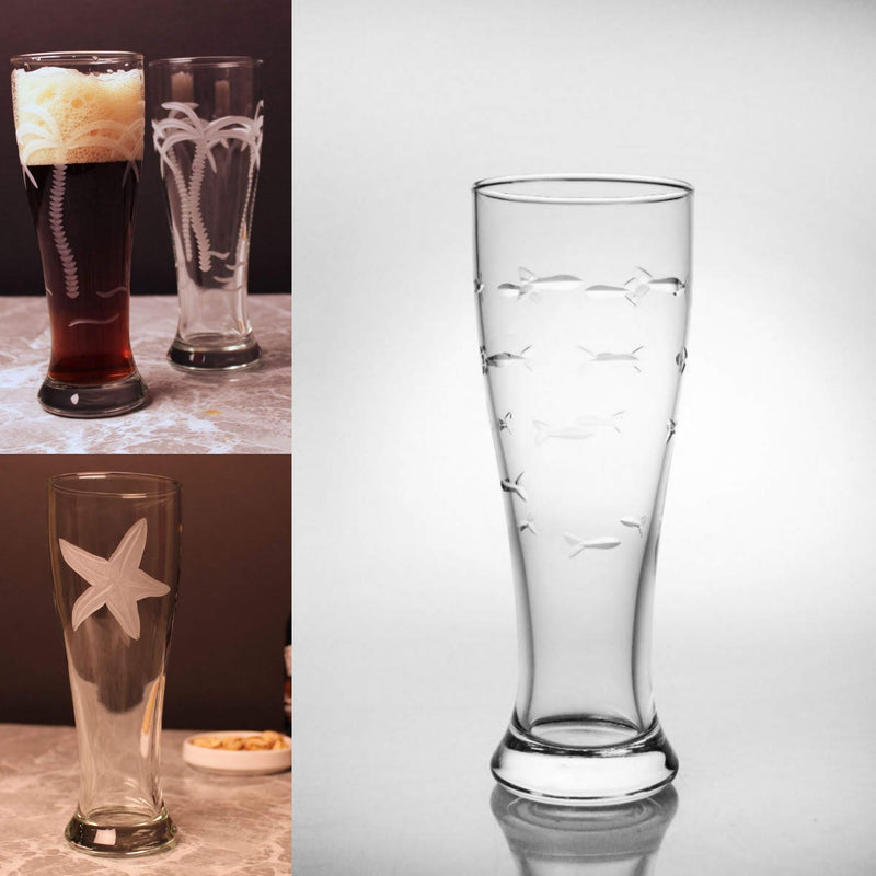 Etched Pilsner Glass