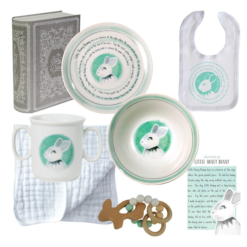 Baby Cup, Plate, Bowl, Bib & Teether Set - Bunny