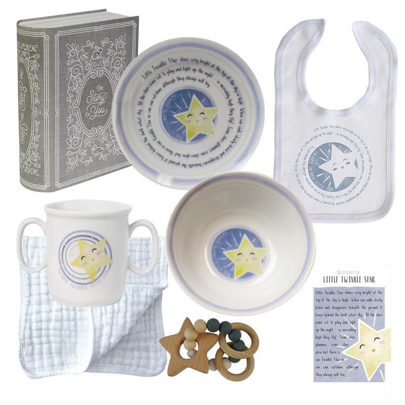 Baby Cup, Plate, Bowl, Bib & Teether Set - Twinkle Twinkle Little Star