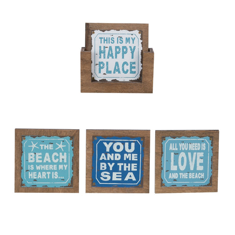 Set of 4 Beach Themed Coasters Cute Beachy Sayings Drinks Happy Place Love By the Sea Metal Wood