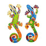Assorted Colorful Gecko Wall Hanging Lizard Pattern Aztec Style Abstract Mexican Tropical Flair Island