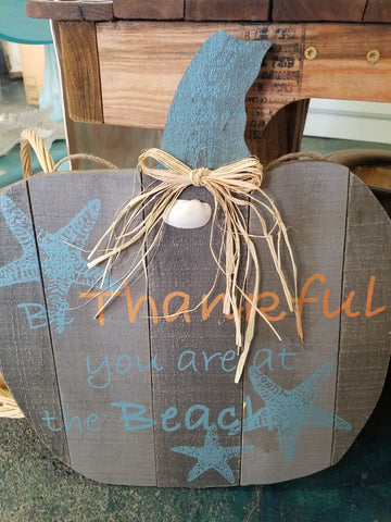 Thankful Pumpkin Sign Plank Wood Board Hanging Wall Decor Give Thanks Beach Home Fall Autumn