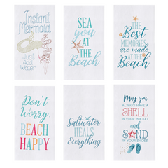 Assorted Beach Themed Flour Sack Kitchen Tea Towel